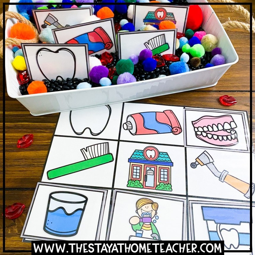 dental hygiene tools matching mat