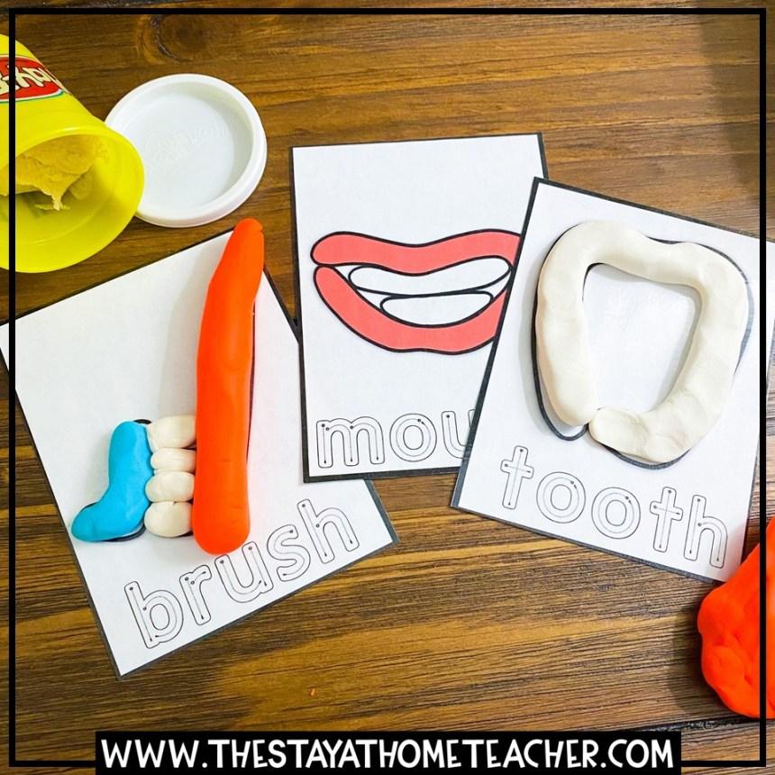 dental hygiene tools play dough cards