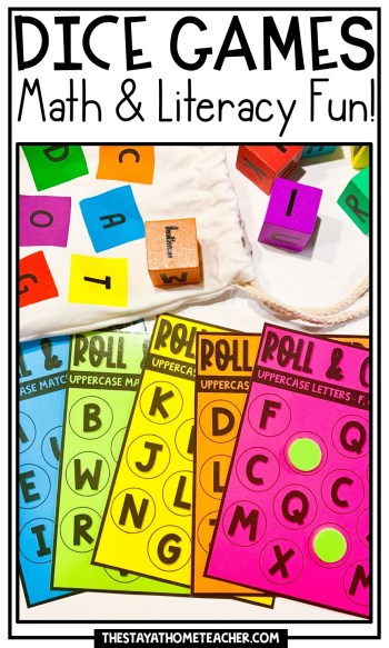 Math and Literacy Dice Games pin