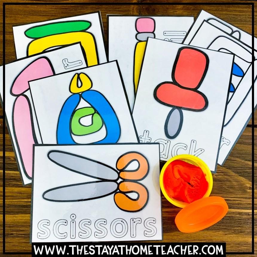 school themed play dough cards