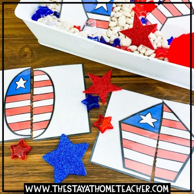 4th of july flag shape puzzles