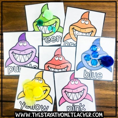 beach shark color sorting cards