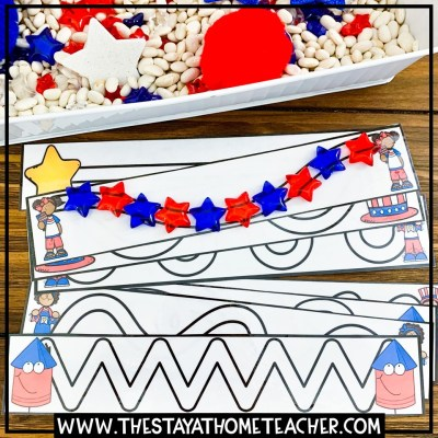 4th of July prewriting cards