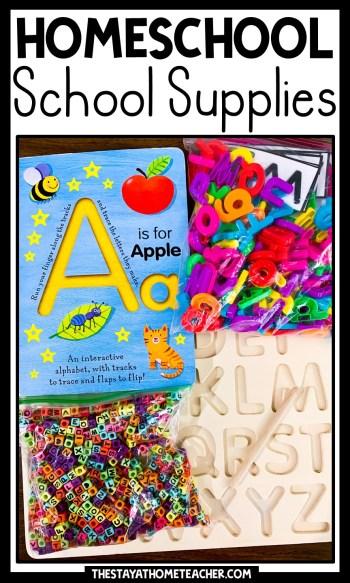 homeschool school supplies pin