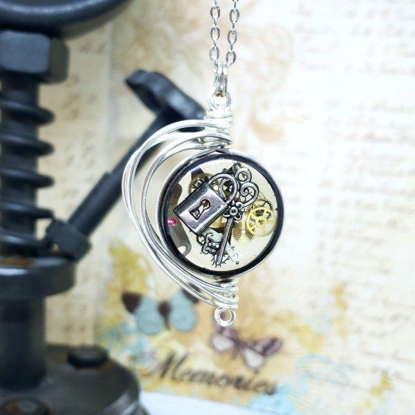Steampunk Necklace in Silver Fancy Wire Wrap Small