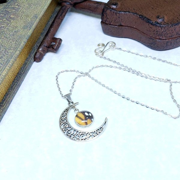 Monarch Butterfly Moon Necklace