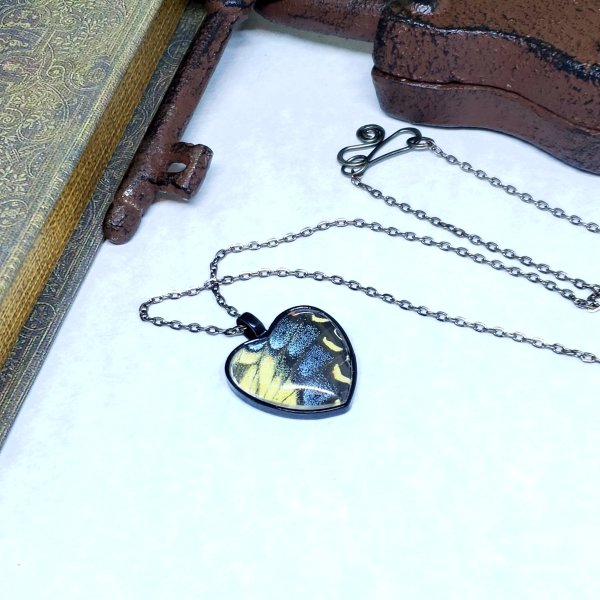 Eastern Tiger Swallowtail Butterfly Black Heart Necklace