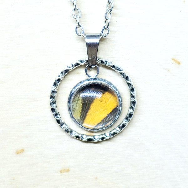 Monarch Butterfly Small Circle Necklace