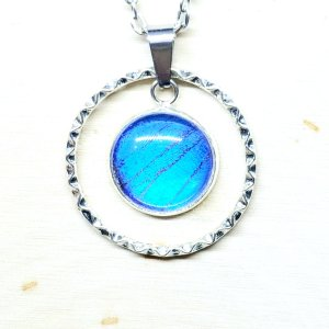 Blue Morpho Butterfly Large Circle Charm Necklace
