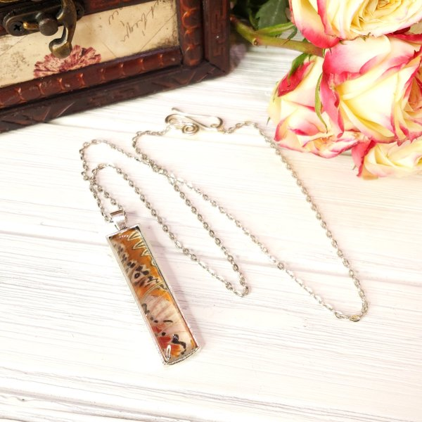 Red Lacewing Butterfly Silver Rectangle Necklace