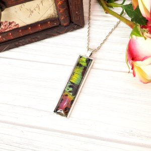 Madagascan Sunset Moth Silver Rectangle Necklace