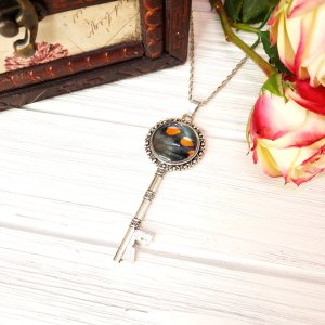 Pipevine Swallowtail Butterfly Silver Key Necklace