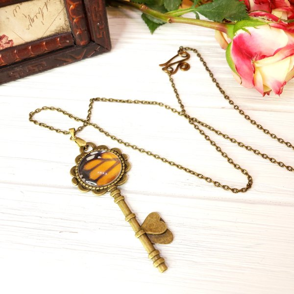 Monarch Butterfly Bronze Key Necklace