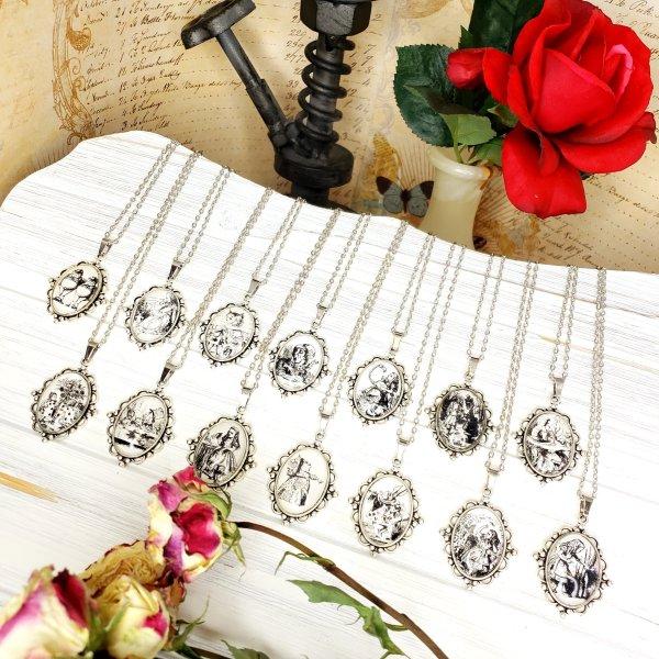 Alice in Wonderland Flamingo Croquet Necklace in Silver