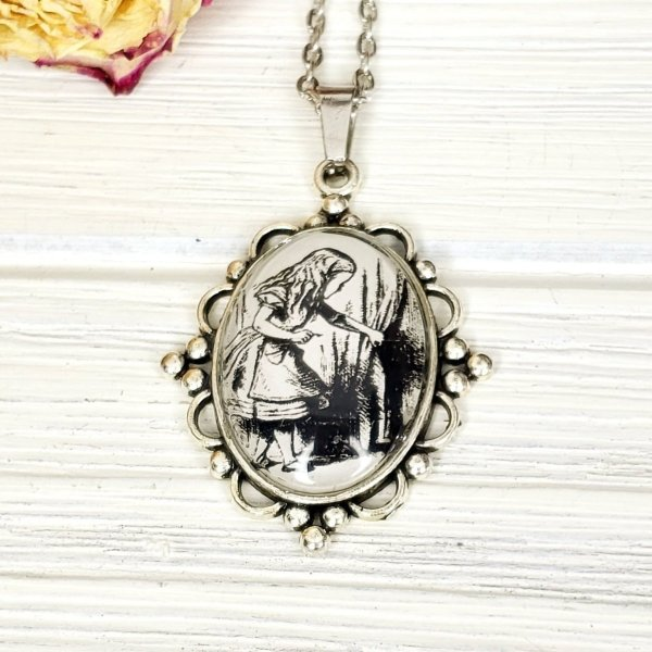 Alice in Wonderland Door Necklace in Silver