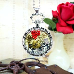 Alice in Wonderland Large Pocket Watch Necklace in Silver