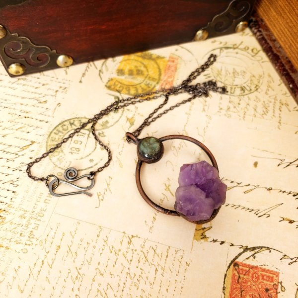 Electroformed Moon Over the Mountain Amethyst and Labradorite Necklace with Gunmetal Chain