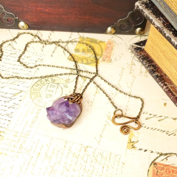 Electroformed Mini Amethyst Cluster Necklace with Bronze Chain
