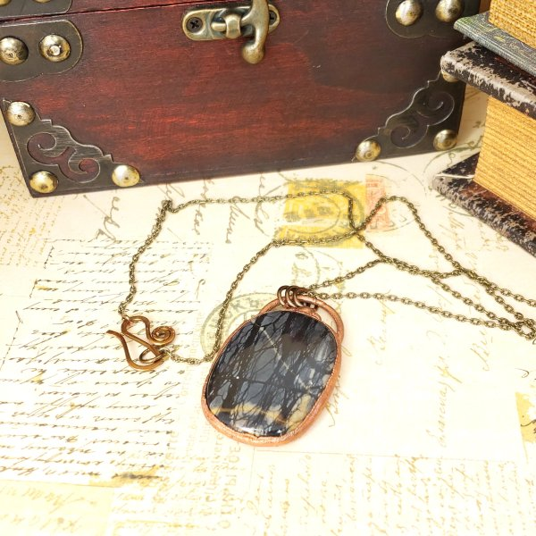 Electroformed Picasso Jasper Cabochon Necklace with Bronze Chain