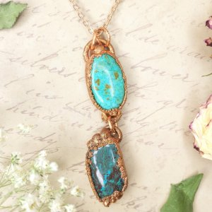 Electroformed Chrysocolla and Azurite Cabochon Pendant with Copper Chain