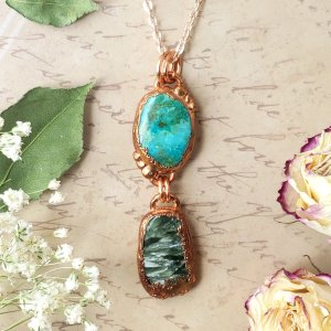 Electroformed Chrysocolla and Seraphinite Cabochon Pendant with Copper Chain