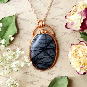 Electroformed Picasso Jasper Cabochon Necklace with Copper Chain
