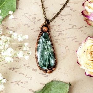 Electroformed Seraphinite Cabochon Necklace with Bronze Chain