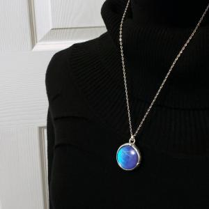 Blue Morpho Butterfly Necklace - Two-Sided Large Circle Smooth Shape in Silver