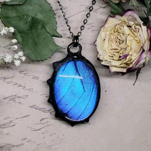 Blue Morpho Butterfly Necklace - Two-Sided Large Oval Fancy Shape in Gunmetal