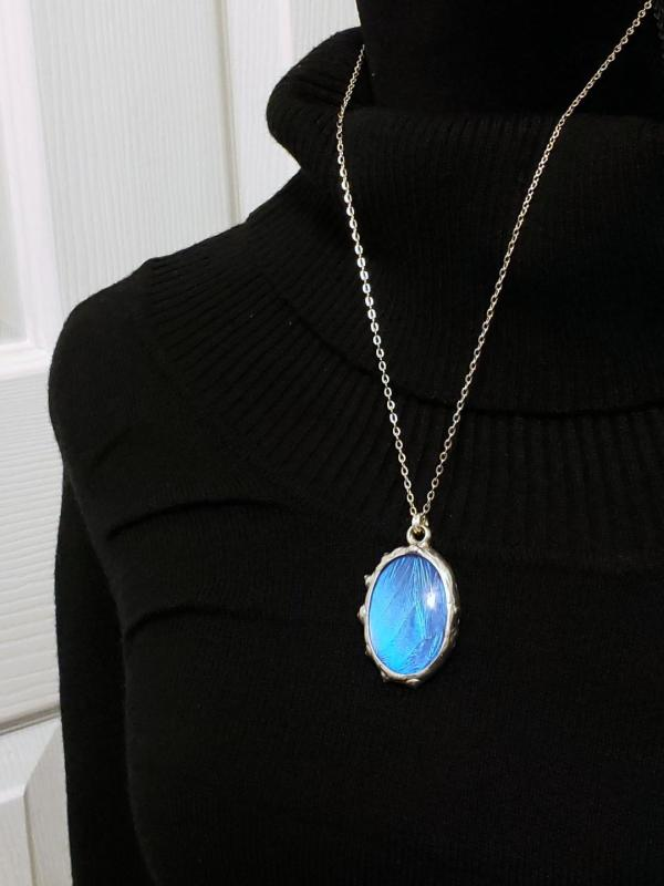 Blue Morpho Butterfly Necklace - Two-Sided Large Oval Fancy Shape in Silver