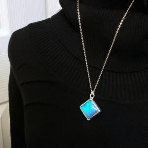 Blue Morpho Butterfly Necklace - Two-Sided Square Shape in Silver