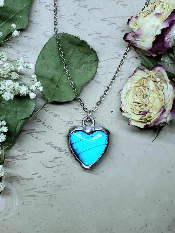 Blue Morpho Butterfly Necklace - Two-Sided Heart Shape in Silver