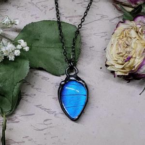 Blue Morpho Butterfly Necklace - Two-Sided Pear Shape in Gunmetal