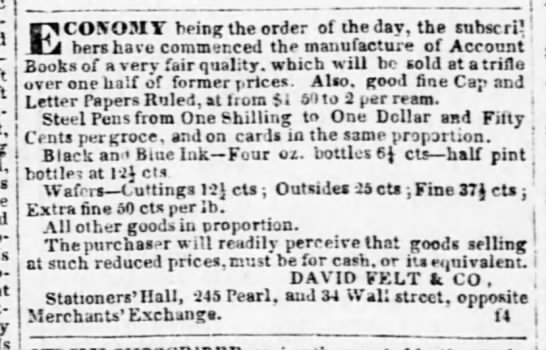 1843 david felt pens 12 quarter cents each