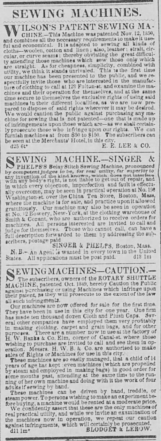 1850 sewing machinese