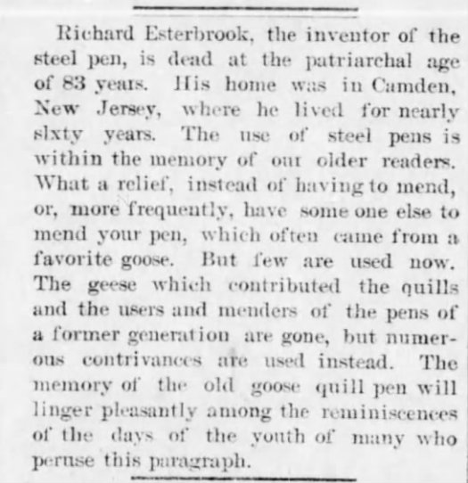 1895 esterbrook inventor of steel pens