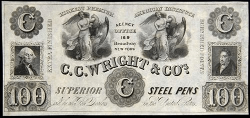 CC Wright Steel Pens certificate