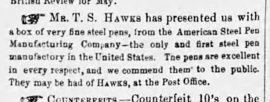 1856 American steel pen ad