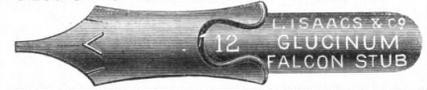 1889 Leon Isaacs stub falcon pen image