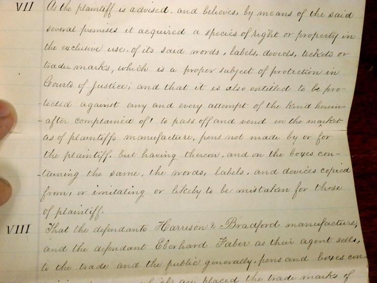 Photo of part of the plaintiff's complaint