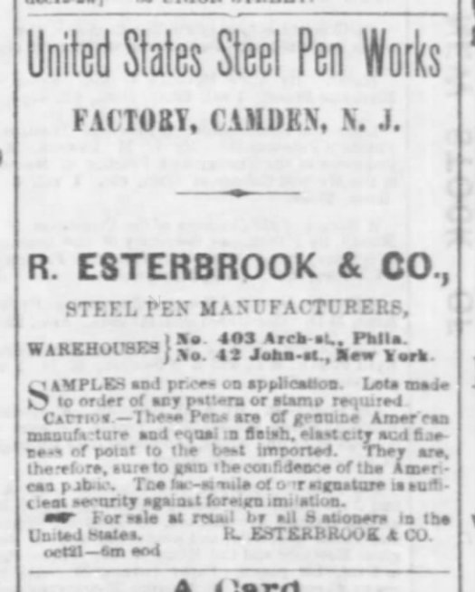 1865 Esterbrook Nashville ad