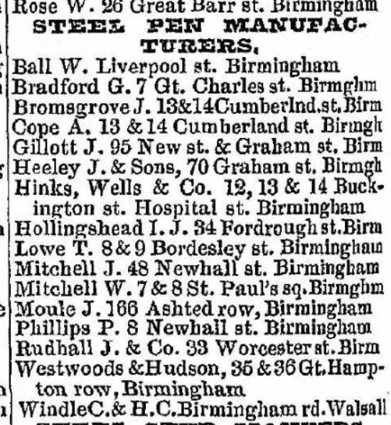 James Bromsgrove 1845 post office directory list of steel pen manufacturers