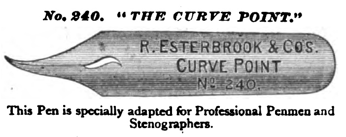ESTERBROOK 240 CURVED POINT PEN 1877 image with caption