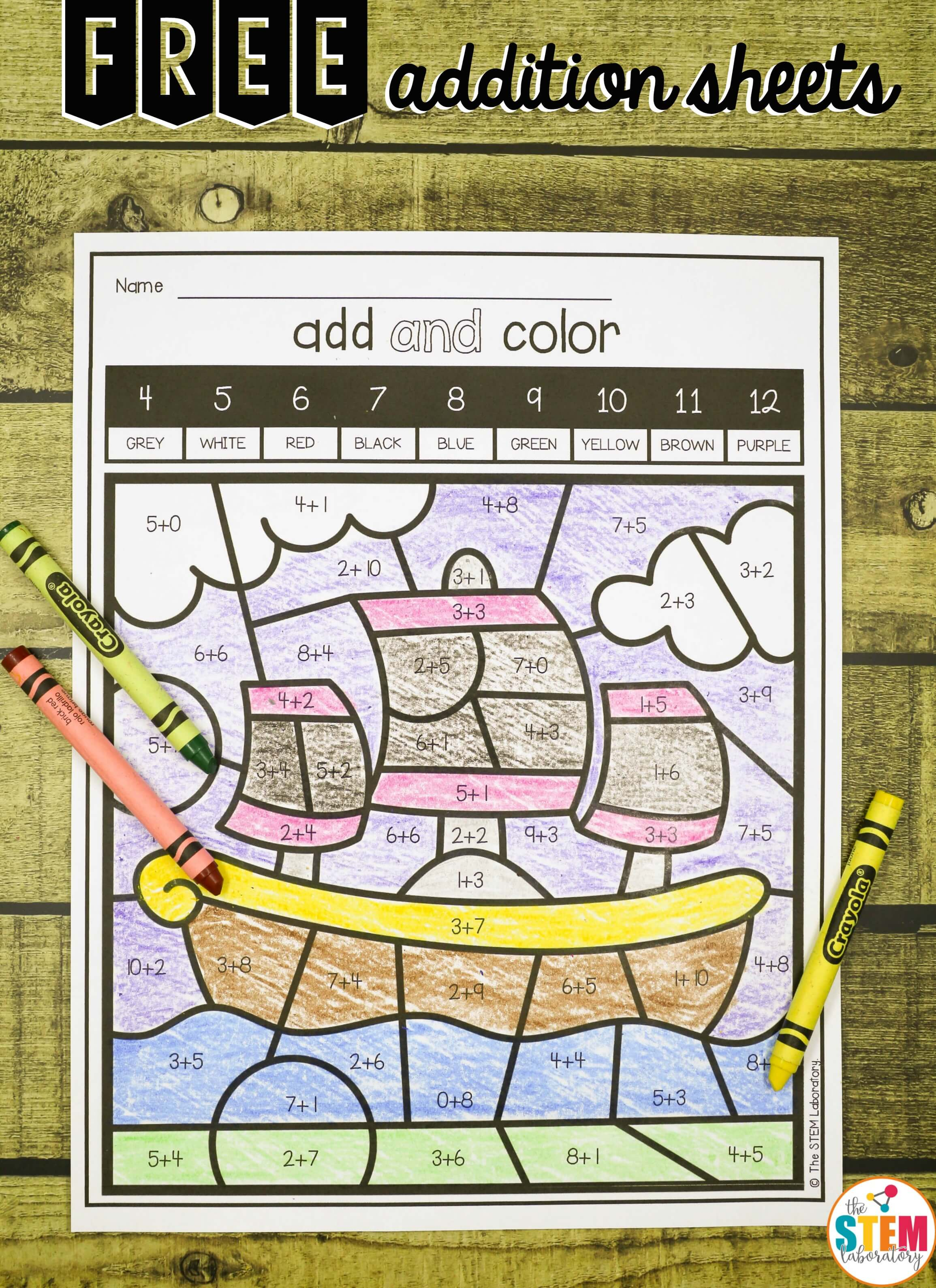 Fun Add And Color Addition Sheets