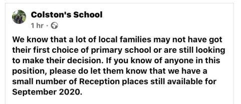 Is Your School Promoting Itself to Families Who Didn't Get Their First Choice Primary School?
