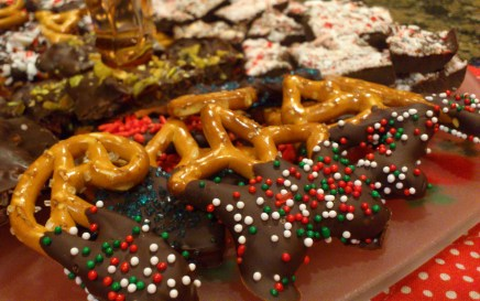 Chocolate-and-sprinkle-covered pretzels