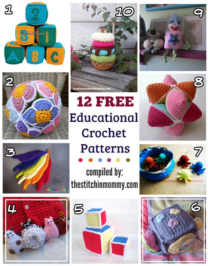 12 Free Educational Crochet Patterns compiled by The Stitchin' Mommy   www.thestitchinmommy.com