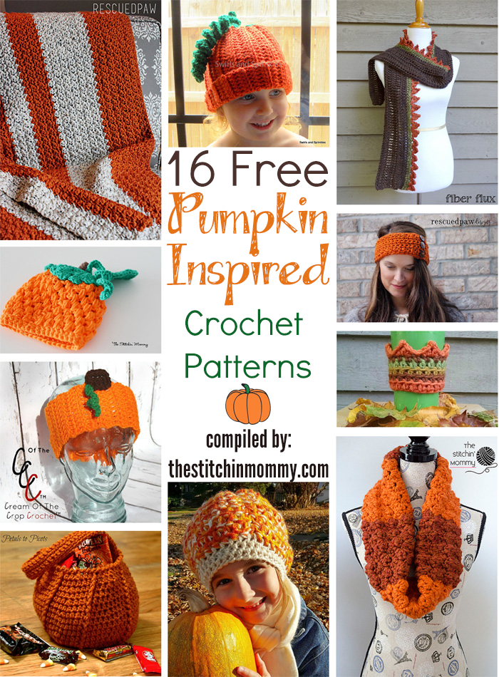 16 Free Pumpkin-Inspired Crochet Patterns compiled by The Stitchin' Mommy | www.thestitchinmommy.com