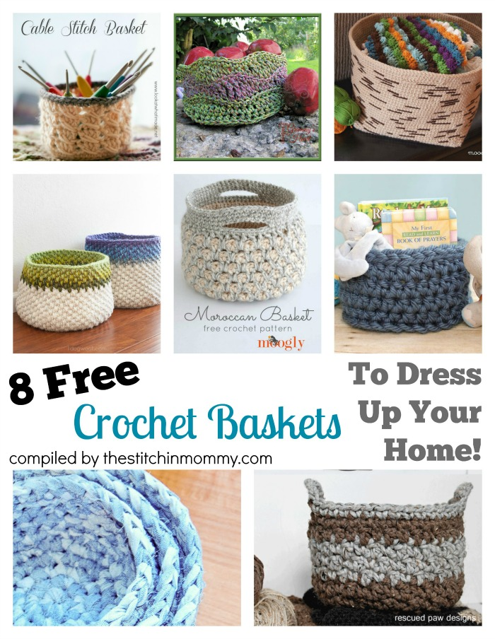 8 Free Crochet Basket Patterns To Dress Up Your Home! Round Up compiled by The Stitchin' Mommy | www.thestitchinmommy.com