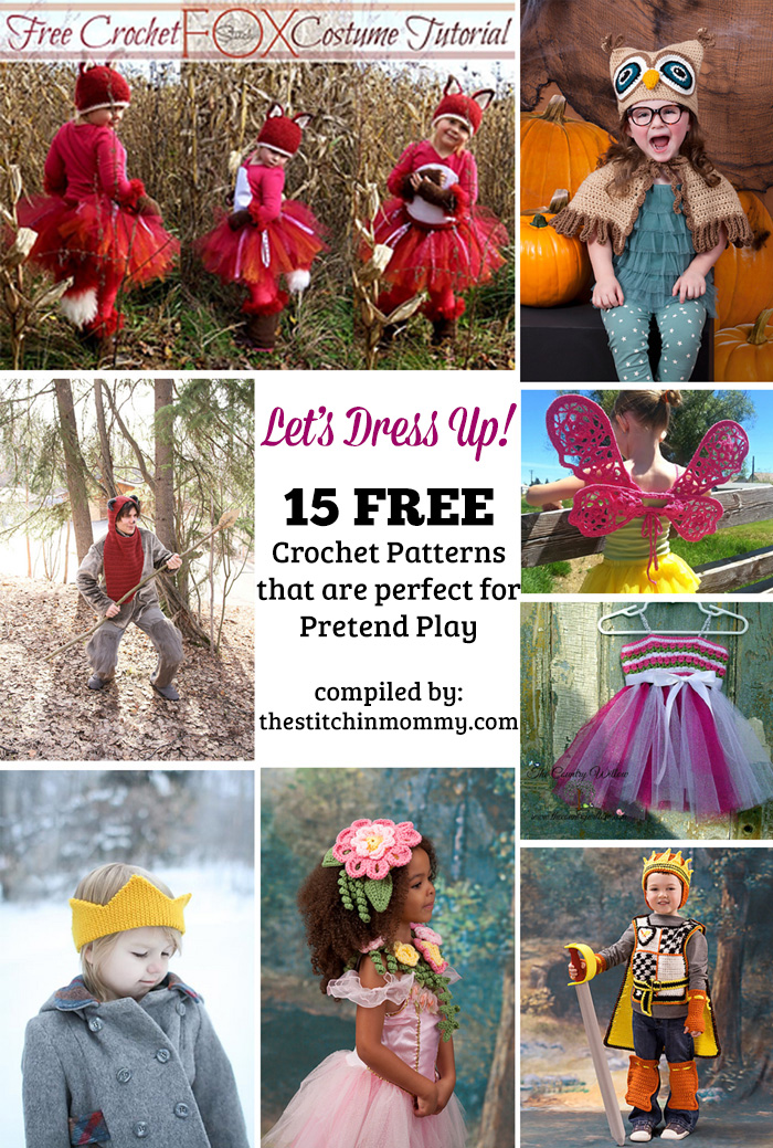 Let's Dress Up! 15 Free Crochet Patterns That Are Perfect for Pretend Play compiled by The Stitchin' Mommy | www.thestitchinmommy.com